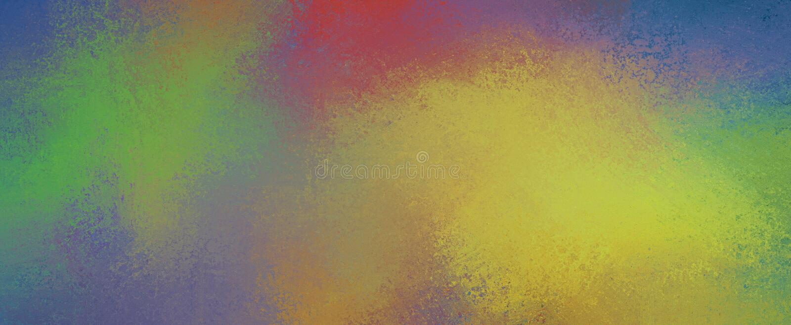 Abstract colorful background with color splashes of green red yellow orange and blue with texture and grunge stock illustration