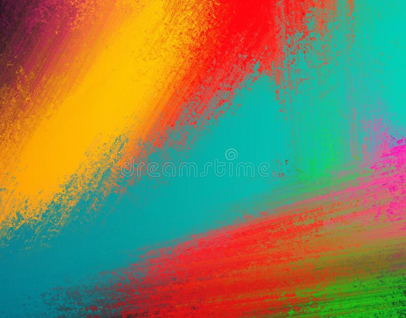 Abstract colorful background design in bold and bright blue red yellow green pink purple and gold. Modern paint color splashes and angled grunge stripes in royalty free stock photos