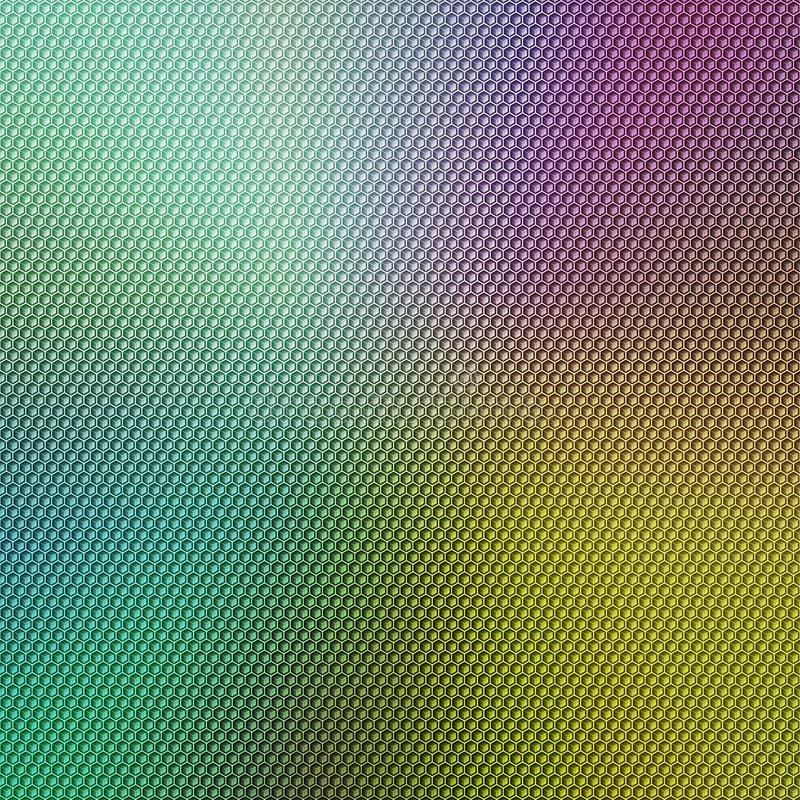 Abstract colorful background image with a hexagonal honeycomb grid overlay. royalty free stock image