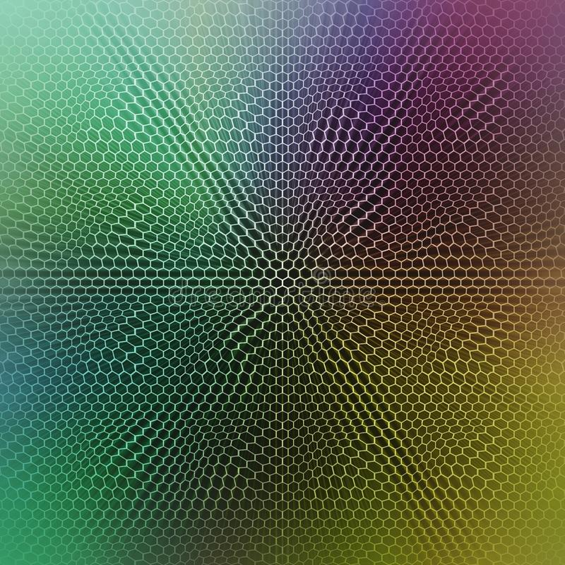 Abstract colorful background image with a twisted hexagonal grid overlay. stock photos
