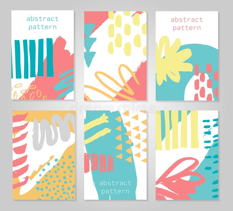 Abstract colorful backgrounds set. Hand drawn templates for card, flyer and invitation design. Vector illustration vector illustration