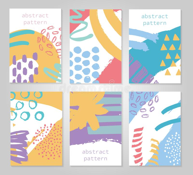 Abstract colorful backgrounds set. Hand drawn templates for card, flyer and invitation design. Vector illustration stock illustration