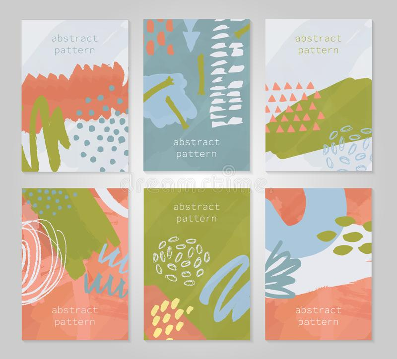 Abstract colorful backgrounds set. Hand drawn templates for card, flyer and invitation design. Vector illustration royalty free illustration