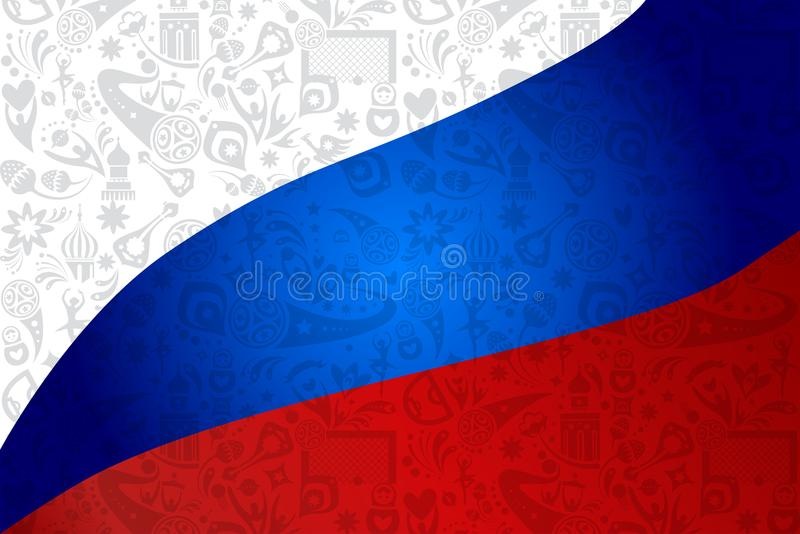 Football 2018 Russia World Cup SOCCER flag stock illustration