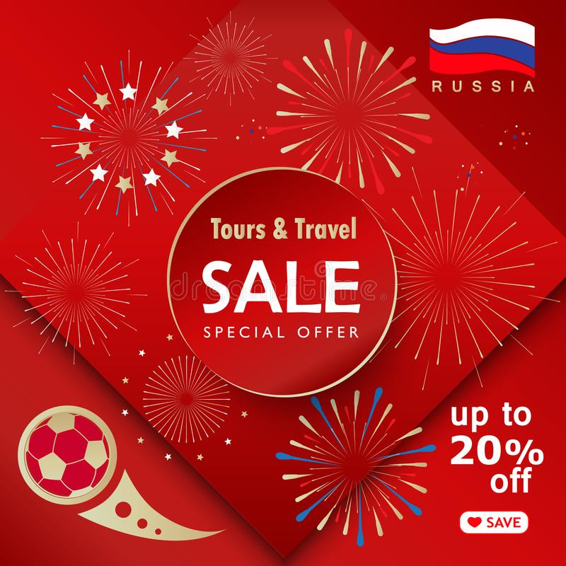 Sale Football 2018 - 2020 Banner Russia World Cup SOCCER Abstract Poster Sign. Football 2018 - 2020 Russia World Cup SOCCER Sale Abstract football tournament royalty free illustration