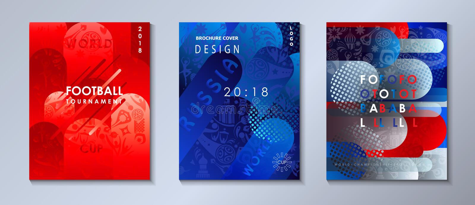 Football 2018 Russia World Cup SOCCER set 2019. Football 2018 Russia World Cup SOCCER Abstract football tournament backgrounds set, dynamic texture banners vector illustration