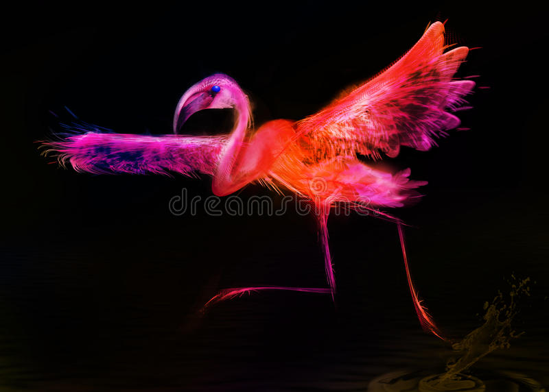 Download Abstract Colorful Bird.  Flamingo Taking Off Stock Illustration - Image: 41952198