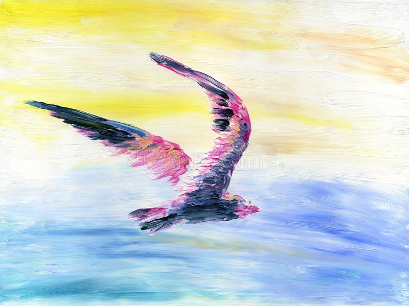 Abstract colorful bird flying high in the sky above the sea. royalty free illustration