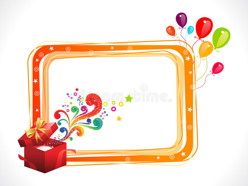 Abstract Colorful Birthday Frame With Magic Box Stock Vector ...