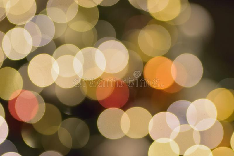 Abstract colorful Blurred Christmas illumination lights. In horizontal frame stock images