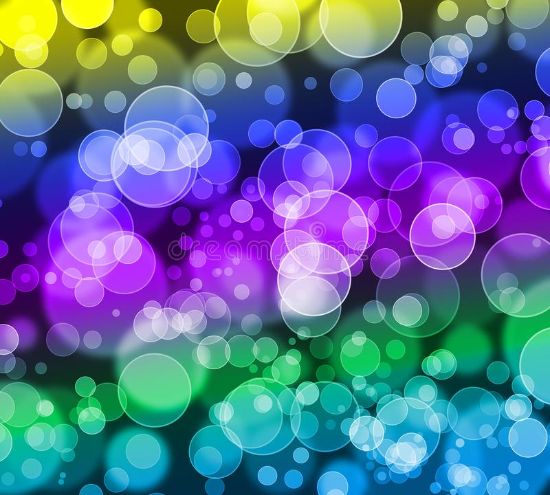 Abstract colorful bokeh glitter background,blue,cyan,green,yellow,purple,violet. stock illustration