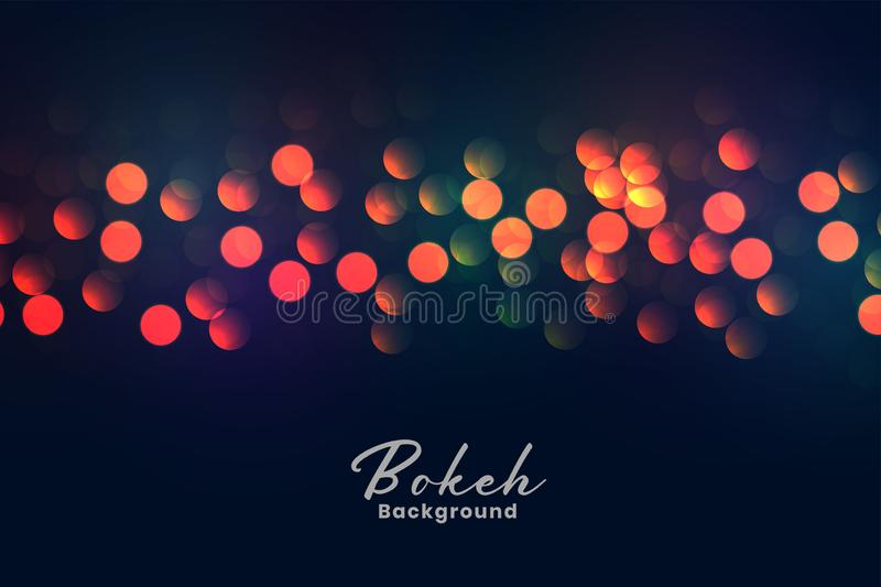 Abstract colorful bokeh lights background stock illustration