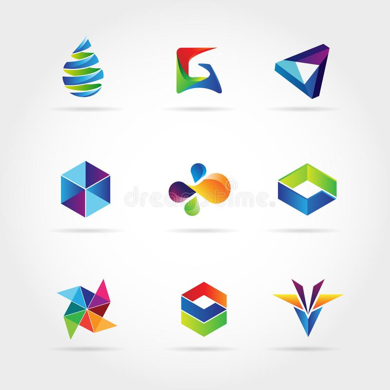 Abstract Colorful Business Logo Set Sign Symbol Icon stock illustration