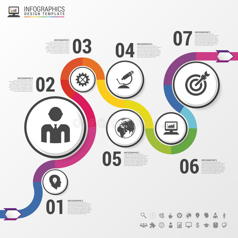 Abstract colorful business path. Timeline infographic template. Vector vector illustration