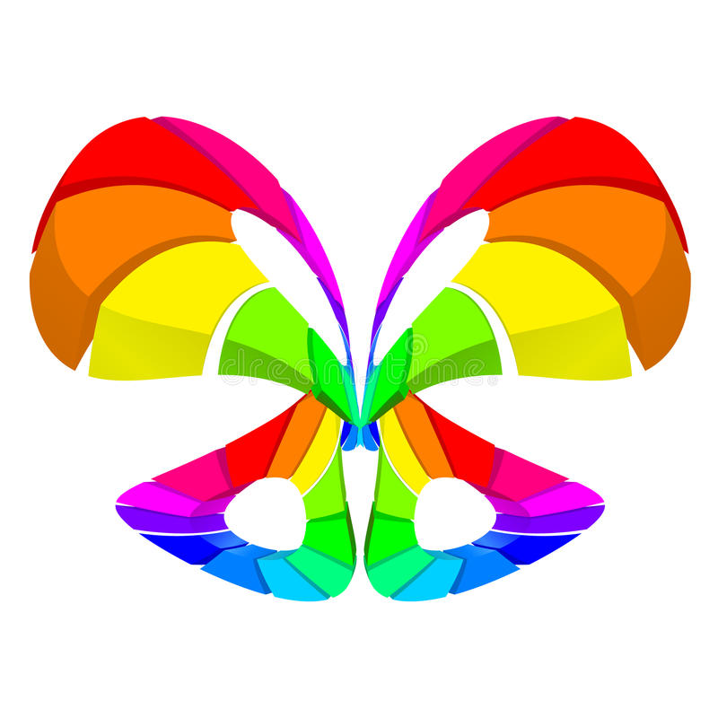 Abstract colorful butterfly. Over white for design stock illustration