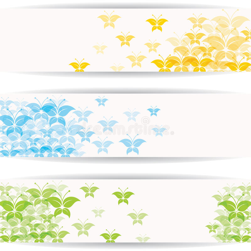 Abstract colorful butterfly design for website banner stock illustration