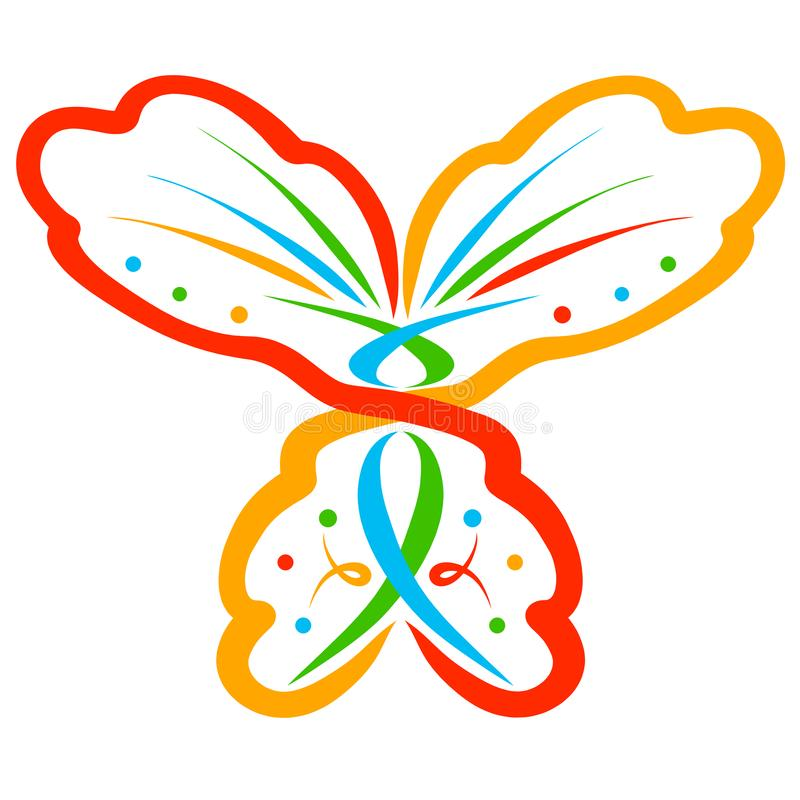 Abstract colorful butterfly with symbols and pattern.  vector illustration