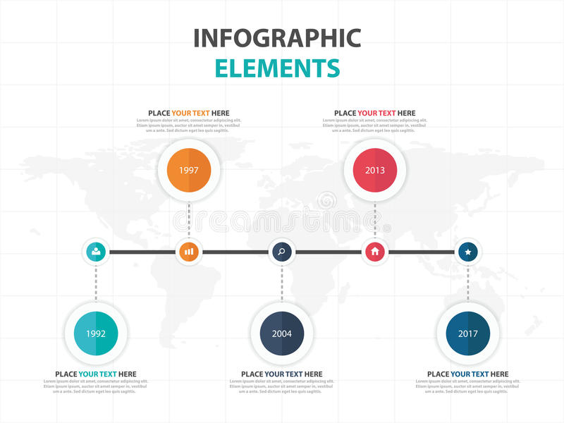Abstract colorful circle business timeline Infographics elements, presentation template flat design vector illustration for web royalty free illustration