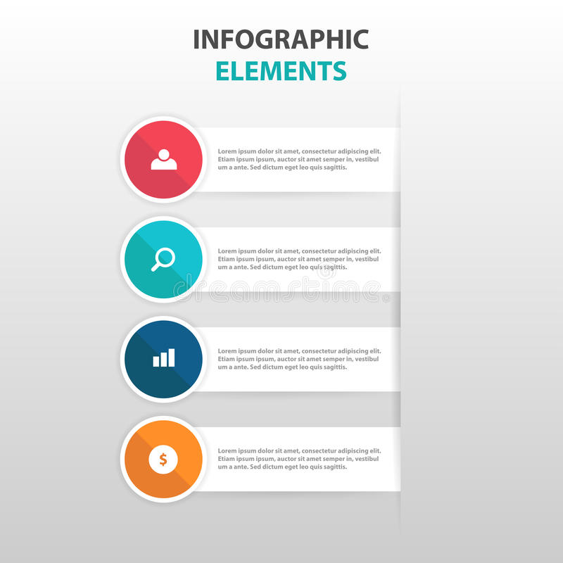 Abstract colorful circle label with magnifying glass business Infographics elements, presentation template flat design vector vector illustration