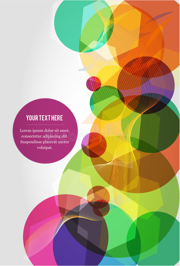 Abstract colorful circles. On light grey background, with text placeholder stock illustration