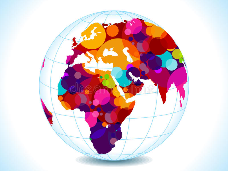 Abstract colorful circles globe stock illustration