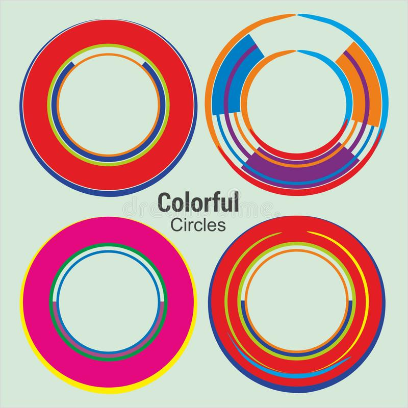 Abstract Colorful Circles for technology communication design stock illustration