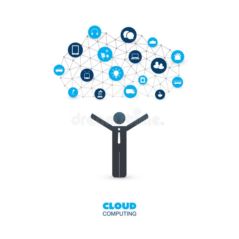 Cloud Computing Design Concept with a Standing Business Man and Icons - Digital Network Connections, Internet of Things. Abstract Colorful Cloud Computing vector illustration