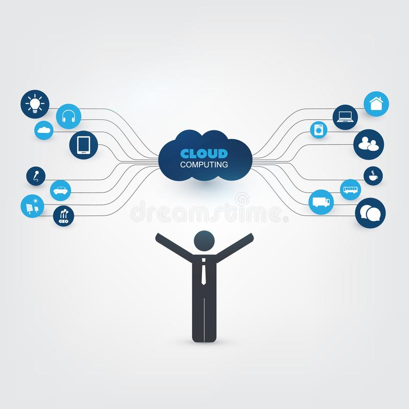 Cloud Computing Design Concept with a Standing Business Man and Icons - Digital Network Connections, Internet of Things. Abstract Colorful Cloud Computing stock illustration