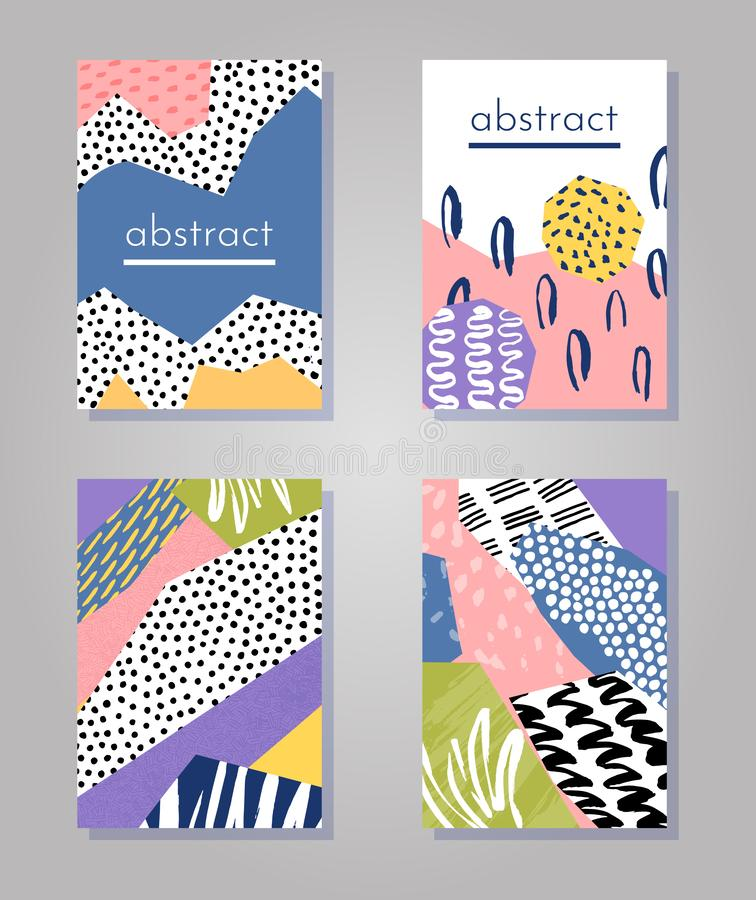 Abstract colorful collage backgrounds set. Hand drawn templates for card, flyer and invitation design. Vector illustration stock illustration