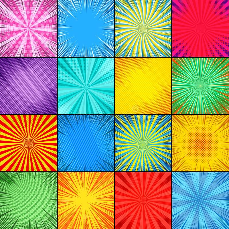Abstract colorful comic backgrounds composition vector illustration