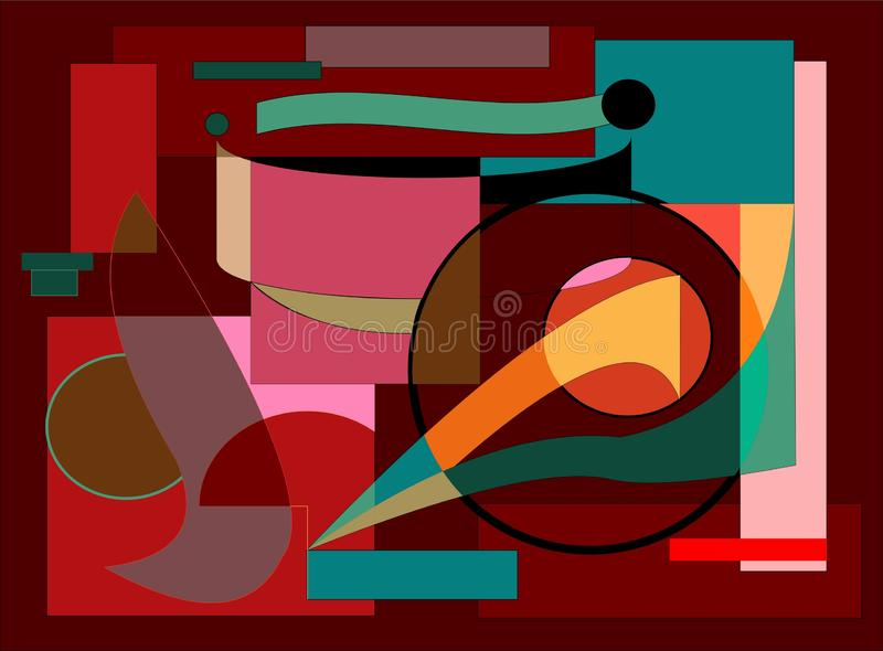 Abstract colorful composition , fancy geometric shapes blue ,red ,yellow on dark brown background -18-109 royalty free illustration