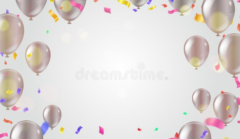 Abstract Colorful confetti Celebration carnival ribbons. Gold foil confetti and balloons. luxury greeting rich card. Happy royalty free illustration
