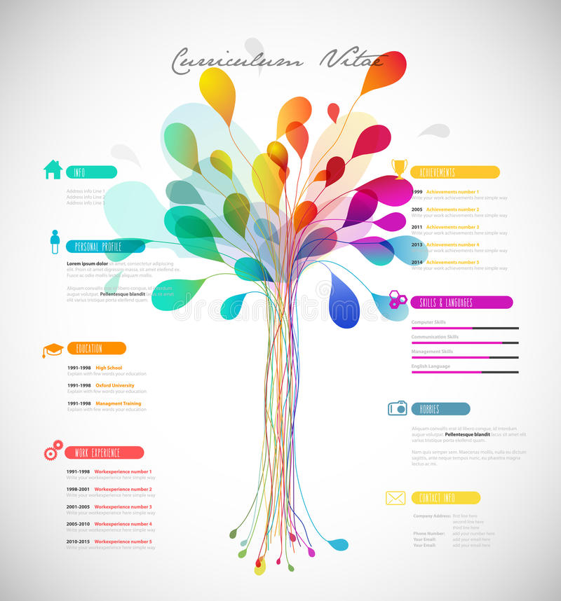 Abstract colorful curriculum vitae royalty free illustration