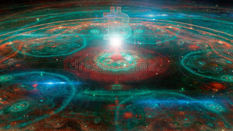 Abstract colorful 3D fractal illustration with bitcoin cryptocurrency symbol stock illustration