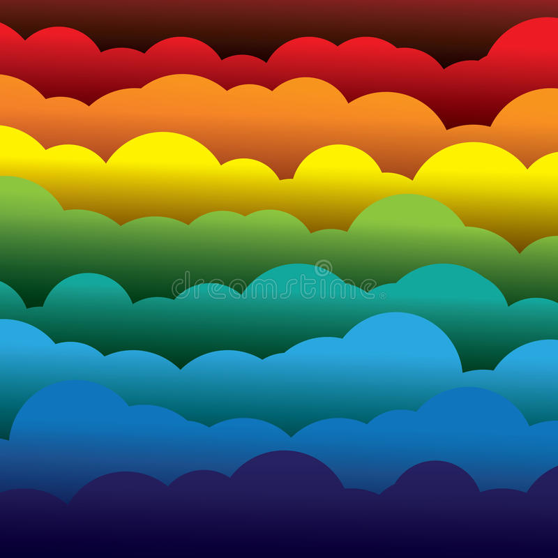 Abstract colorful 3d paper clouds background (backdrop). Vector graphic. This illustration contains layers of clouds formed using paper in colors like red stock illustration