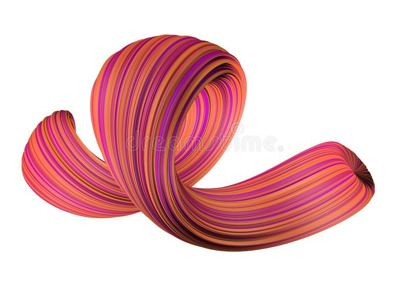 Abstract colorful 3D swirl royalty free illustration