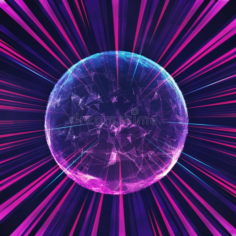 Abstract Colorful Infinity Energy Ball In A Multicolored Beams Of Light stock illustration