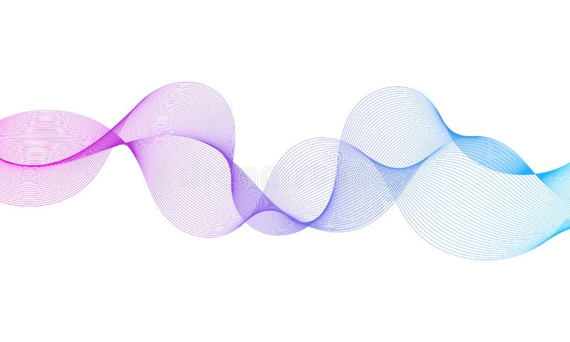 Abstract colorful equalizer wavy lines element isolated on white background. stock illustration