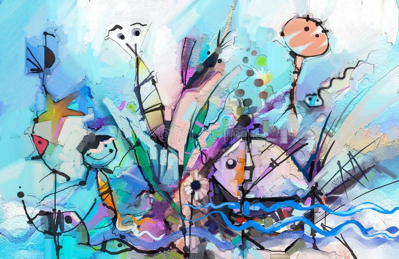 Abstract colorful fantasy oil painting. Semi- abstract of chidren, tree, fish and bird. stock illustration
