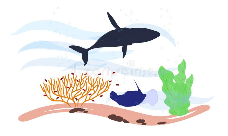 Abstract colorful fantasy underwater. Illustration Semi abstract art. Image of fish anchor seaweed in sea. Hand painted, children royalty free illustration