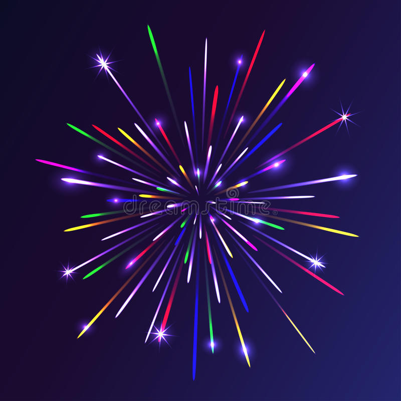 Abstract colorful fireworks background. Christmas lights. Vector illustration stock illustration