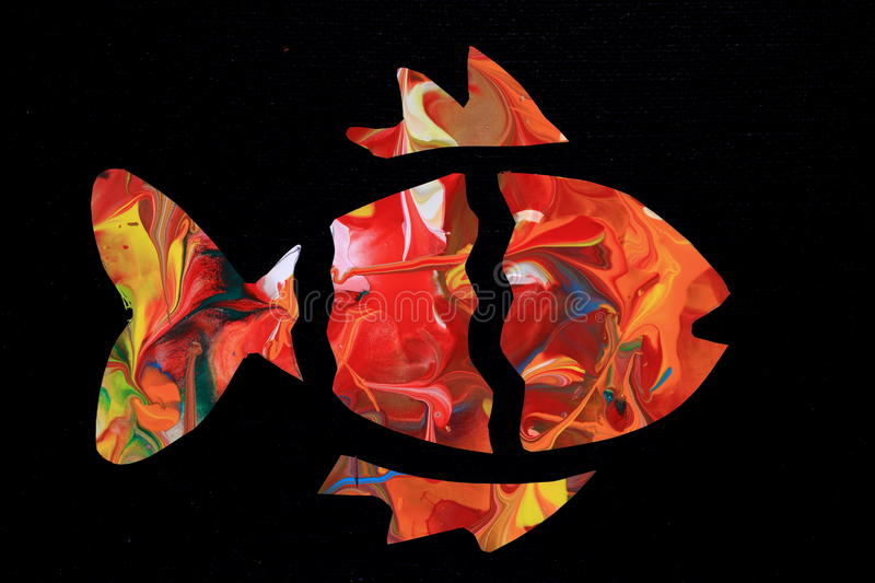 Abstract Colorful Fish. Abstracted outlines of a fish filled with a colorful abstract painting in light warm colors stock image