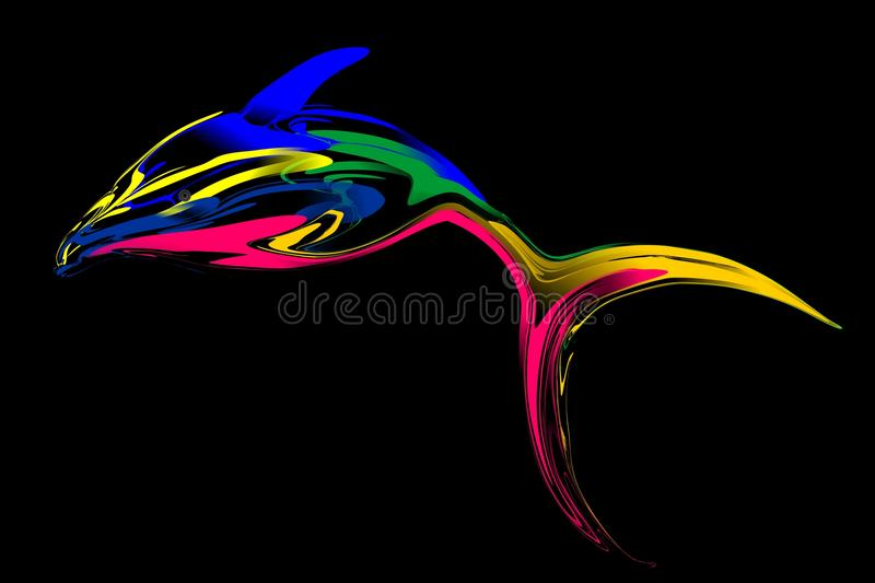 Abstract colorful fish with black Background. Vector Illustration stock illustration