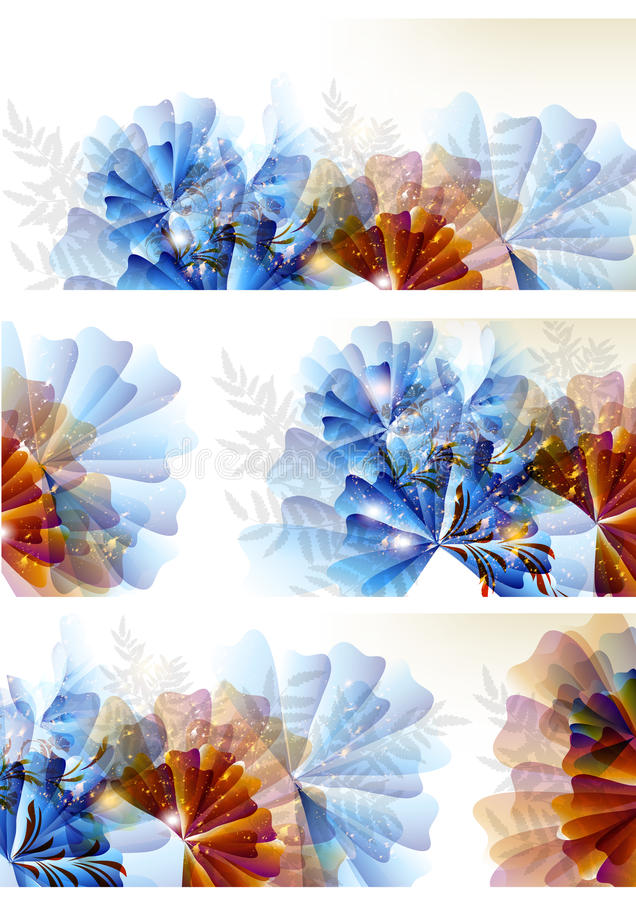 Abstract colorful flower backgrounds set vector illustration