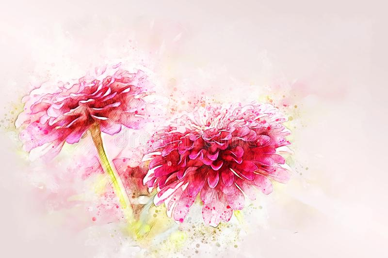 Abstract colorful flower blooming watercolor illustration painting background royalty free stock image