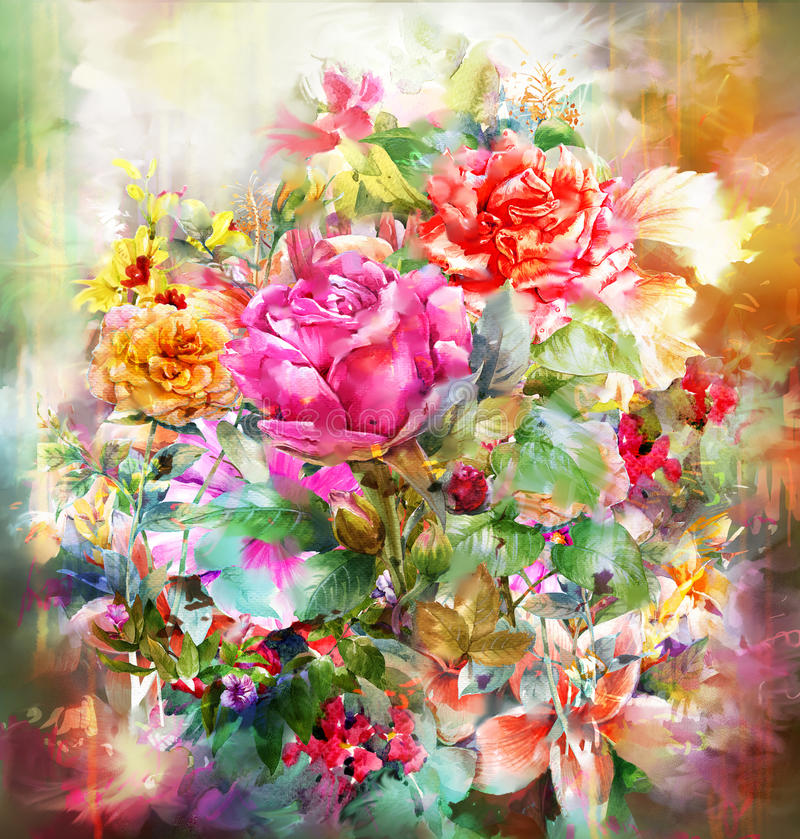 Abstract colorful flowers rose watercolor painting. Spring multicolored in nature. stock illustration