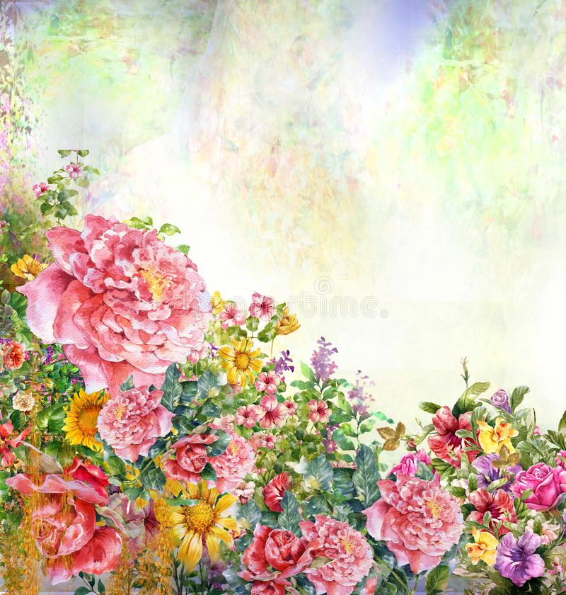 Abstract colorful flowers watercolor painting. Spring multicolored in nature. Abstract colorful flowers watercolor painting. Spring multicolored in nature royalty free stock photo