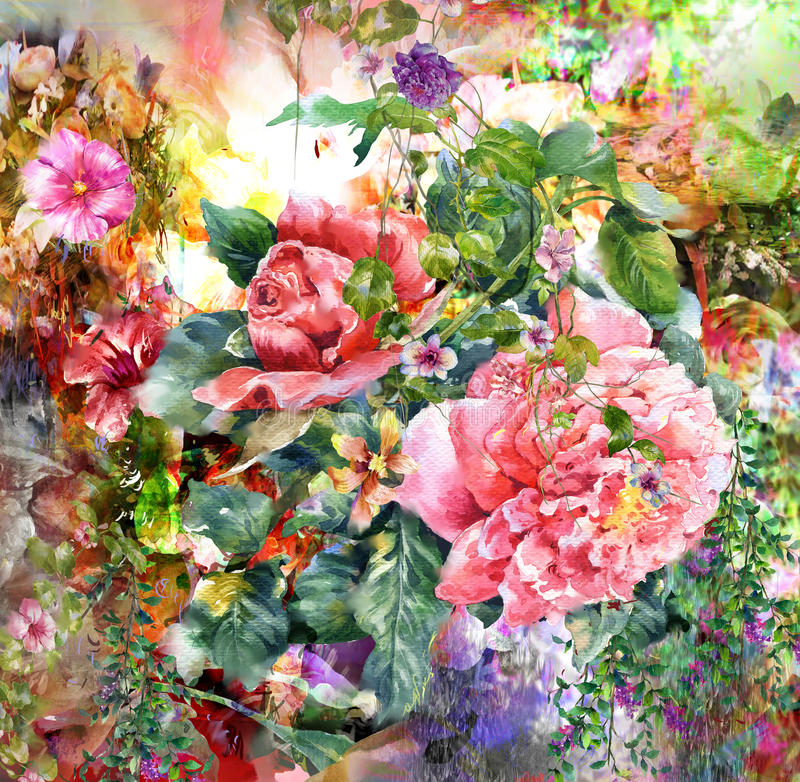 Abstract colorful flowers watercolor painting. Spring multicolored in nature. stock illustration