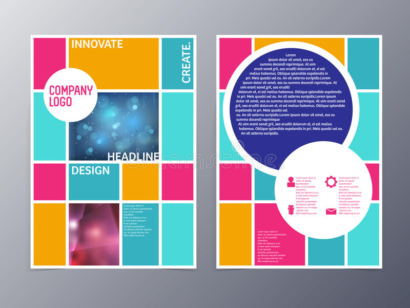 Abstract colorful flyer design template vector a4 stock illustration