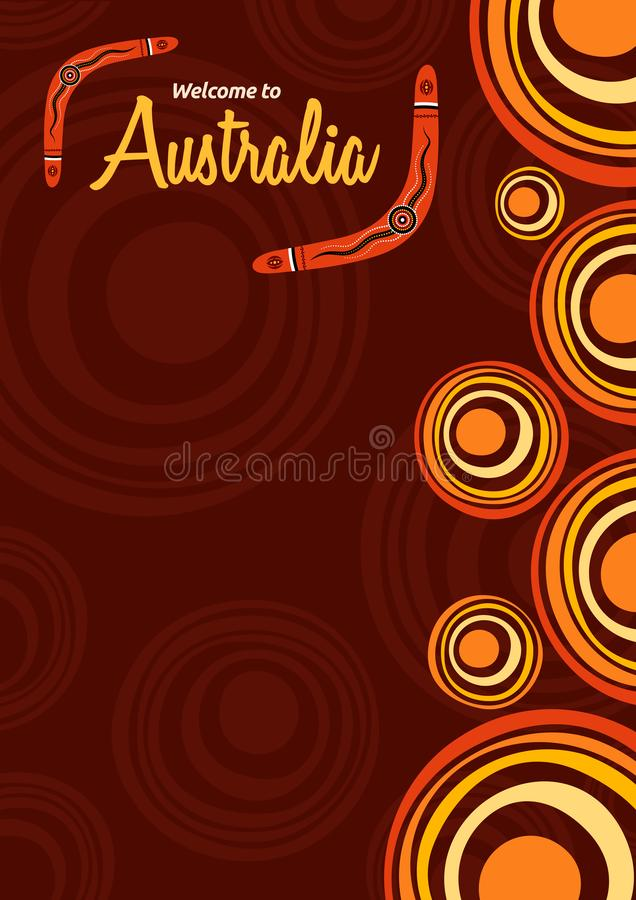 Abstract colorful flyer, poster, banner, placard, brochure design template with place for text. Stylized suns. Aboriginal style. Ethnic style. Australian style royalty free illustration
